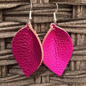 Metallic fuschia leather earrings